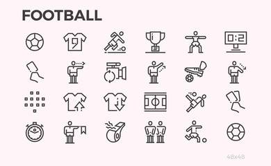 Football icons. Football players and equipment, rules for the game. Ball, field, referee and other symbols. Editable line.