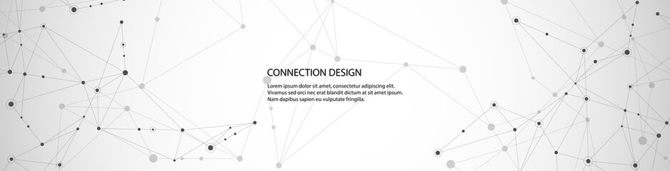 Vector banner design, global connection with lines and dots