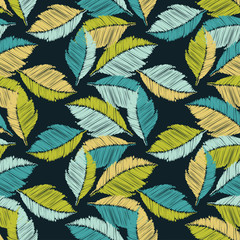 Seamless background with decorative leaves. Scribble texture. Textile rapport.
