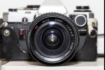 Vintage SLR film camera front view