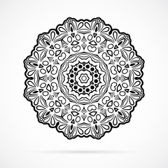 Vector Black Geometry Mandala over white