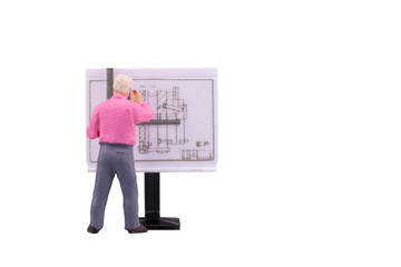 Miniature teacher people working on  drawing isolated with clipping path on white background. Elegant Design for industrial and education concept.