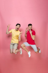 Full length portrait of a joyful gay male couple