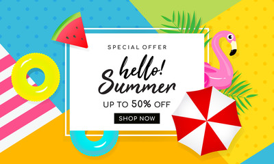 Summer sale banner vector illustration. Beach umbrella with summer element on colorful background.