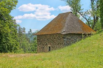 Locality near Pernstejn Castle. South Moravian Region, Czech Republic. Spring rural scenery.