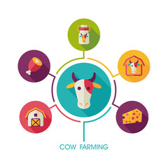 Cow farming icon and agriculture infographics