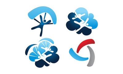 Parachutist Icon Template Set