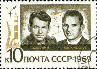 Ukraine - circa 2018: A postage stamp printed in Soviet Union show Soviet cosmonauts G. S. Shonin, V. N. Kubasov. Series: Group Space Flight. Circa 1969.