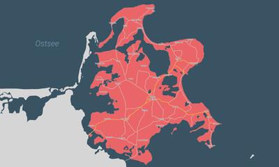 Karte der Insel Rügen mit Orten und Straßennetz