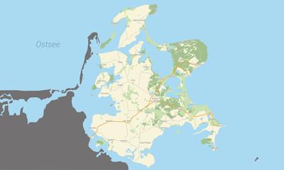 Detailierte Landkarte der Insel Rügen