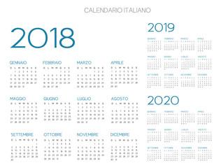 Italian Calendar 2018-2019-2020 vector