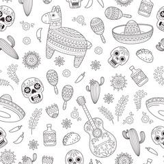 Cinco de Mayo celebration in Mexico. Cartoon doodle collection objects for Cinco de Mayo parade with pinata, maracas, sambrero, tequila, tacos, cactus, skull, flag. Vector seamless pattern, texture