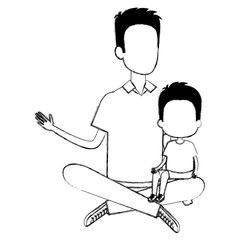 father sitting on the floor carrying son vector illustration design