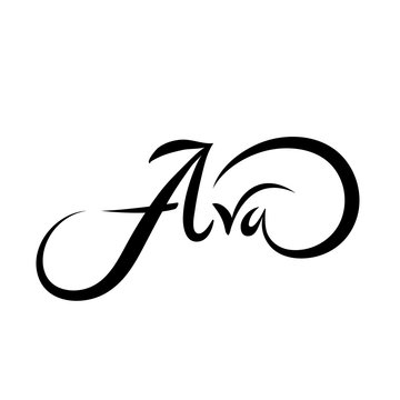 Personal name Ava. Vector handwritten calligraphy set.
