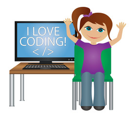 "School student with computer screen vector - "" I love coding """