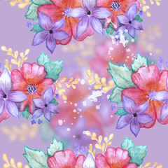 Seamless watercolor floral pattern on turquoise background