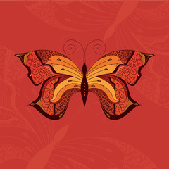 Ornamental vector butterfly with many details on orange background. Elegant design template.