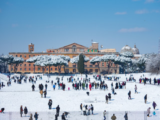 Snow was piled up in roma.