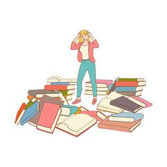 exhausted tired shocked woman student or worker standing holding hair with books pile at floor. Vector sketch Overwork or studying exams concept. Education and stress concept. Isolated illustration
