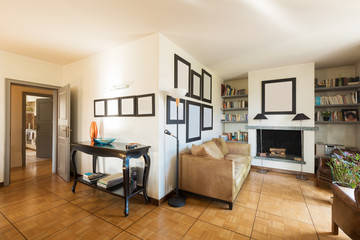 Interiors of modern apartment, living room