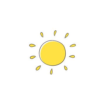 Flat cartoon vector illustration on sun imitating a kid, child drawing isolated on white background. Stylized, simple, na ve hand drawing of yellow sun