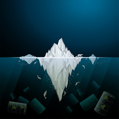 Vector and illustration of graphic style,Antarctic iceberg in the ocean and Marine pollution, hazardous chemicals, Environmental impact , Concept for presentation for you,EPS10.