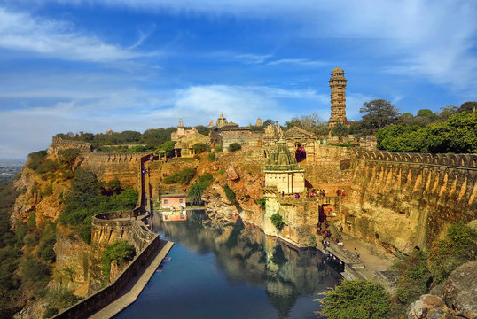 a stone fortress on the hill of fort chittorgarh in india