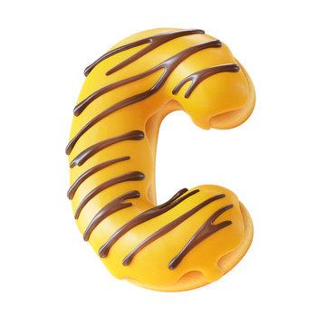 Glazed donut font 3d rendering letter C