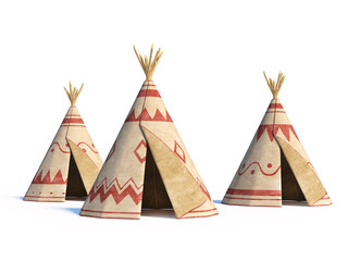 North America's indian tents isolated on white background, tepee village, 3d rendering