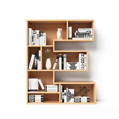 Bookshelves 3d font. Alphabet in the form of book shelves. Mockup font.  Letter E 3d rendering