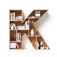 Bookshelves 3d font. Alphabet in the form of book shelves. Mockup font.  Letter K 3d rendering