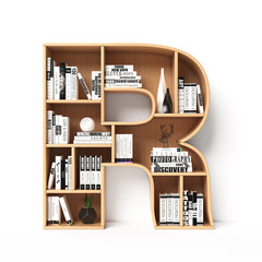Bookshelves 3d font. Alphabet in the form of book shelves. Mockup font.  Letter R 3d rendering