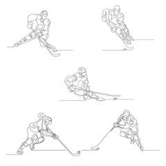 Continuous line drawing. Set of hockey player in attack. Ice Hockey. Vector illustration