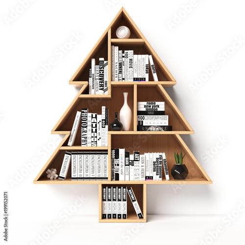 Bookshelves In The Shape Of Christmas Tree Xmas Present Book Shelf Concept 3d
