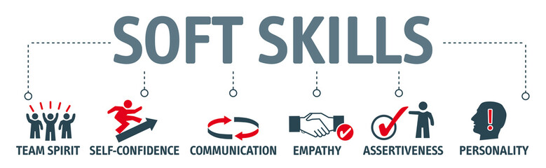 Banner soft skills vector illustration concept with keywords and icons