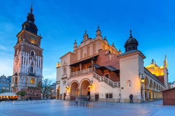 Town Hall tower and Krakow Cloth Hall at dusk, Poland