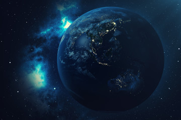 3D Rendering World Globe from Space in a Star Field Showing Night Sky With Stars and Nebula. View of Earth From Space. Elements of this image furnished by NASA.