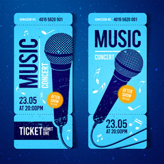 vector illustration blue music concert ticket design template with microphone and cool grunge effects in the background