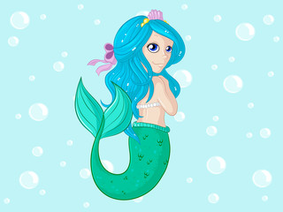 Hübsche Comic Meerjungfrau