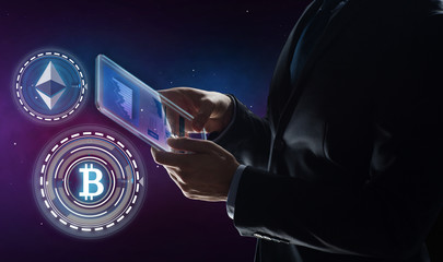 business, cryptocurrency and future technology concept - businessman with transparent tablet pc computer and virtual bitcoin and ethereum holograms over space background