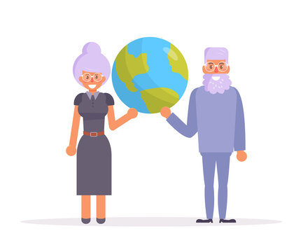 Grandma and grandpa. Earth day Vector