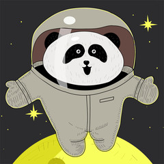 White panda astronaut in space suit. the pioneer. adventures in space.