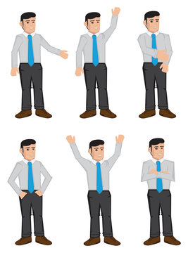Full Body Businessmen Color Icons Vector Illustration