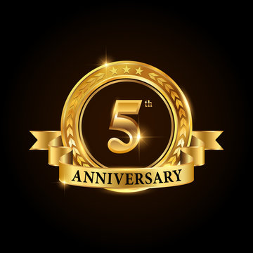 5 years anniversary celebration logotype. Golden anniversary emblem with ribbon. Design for booklet, leaflet, magazine, brochure, poster, web, invitation or greeting card.