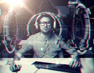 technology, cyberspace, programming and people concept - hacker man in headset and eyeglasses with pc computer keyboard over virtual projections over glitch effect