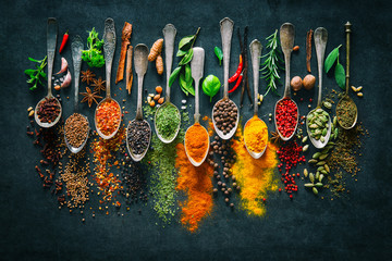 Foto op Canvas Kruiden Herbs and spices for cooking on dark background