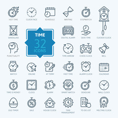 Time - minimal thin line web icon set. Outline icons collection. Simple vector illustration