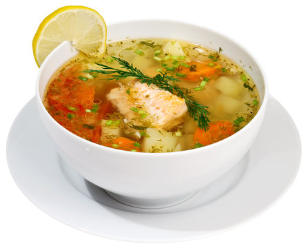 Fish soup isolated on white with clipping path.
