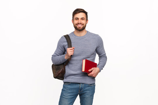 Smart student with book and backpack