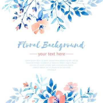 Soft blue floral watercolor